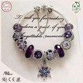 Mejor Calidad Luxuxious Y Agradable de Plata Regalo de La Joyería de Plata Púrpura Noble Encanto Serie 925 Real de Plata del Copo de nieve de Los Encantos de la Pulsera