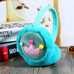 Обувь для мальчиков и девочек зимние теплые уха милый искусственный мех кролика мультфильм корона плюшевые детские теплые наушники