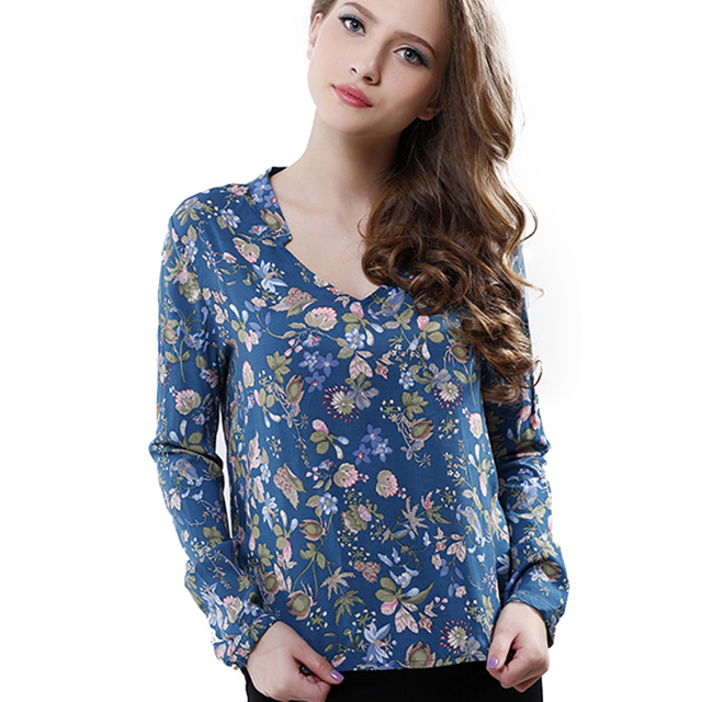 Fashion Women Elegant vintage Long Sleeve V-neck Floral Print Blouses OL Shirts Casual Women Blouse Tops