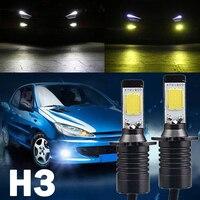 2 cái Chất Lượng Cao H3 80 Wát LED Xe Fog Driving Light Bulb Màu kép Trắng Vàng 6000 K 3000 K Lamp đối với Auto Xe Tải DC12V-