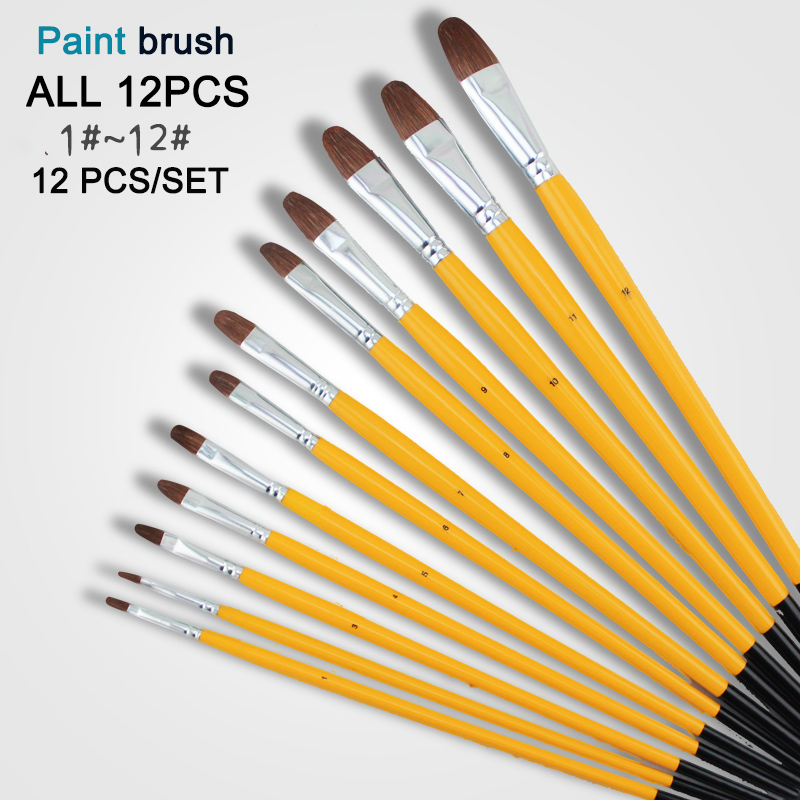 Memory 12Pcs Set Weasel Hair Round Paint Brush Wooden Handles