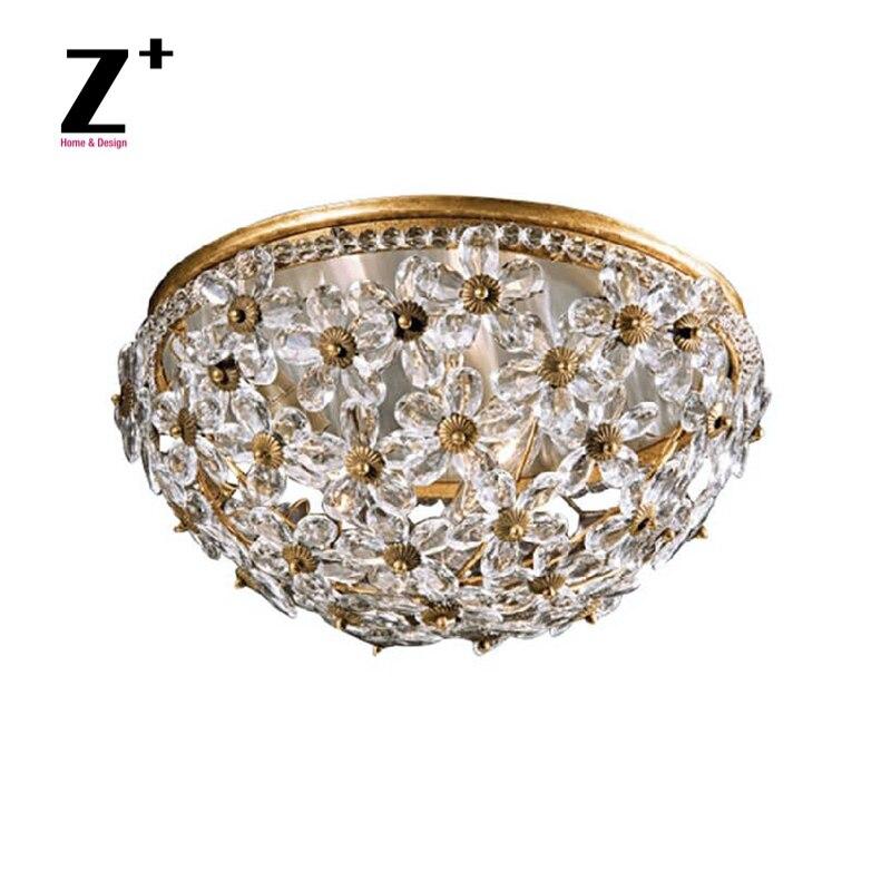 Style italien du milieu du siècle cristal Floral plafond encastré luminaires en laiton doré couleur plafonnier
