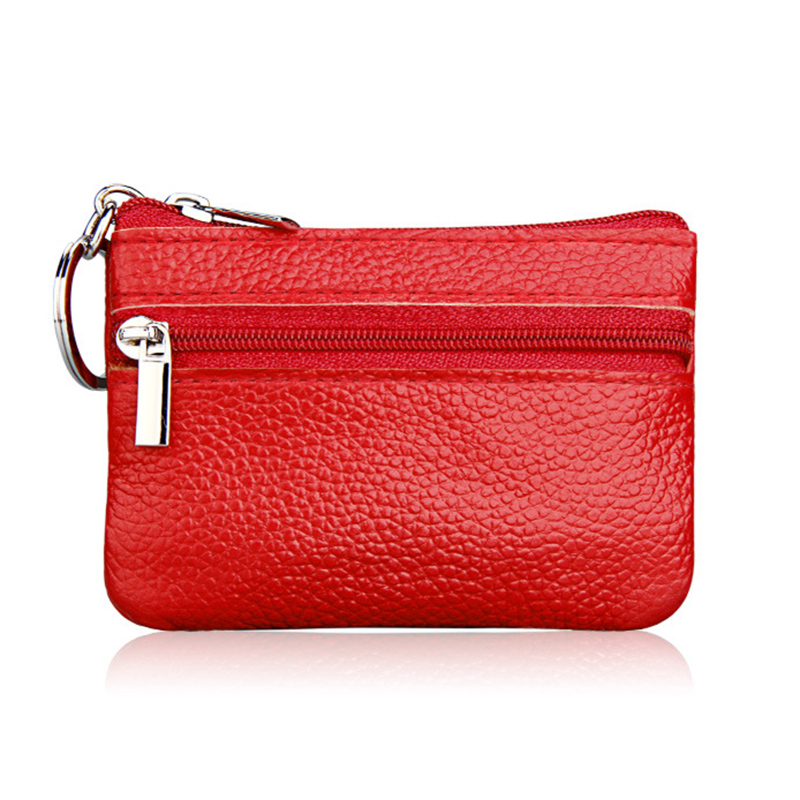 Fashion Small Real Leather Womens Key Coin Purse Mini 2 Zipper open Genuine Leather Women Wallets Red Pink Purple Purse 2018