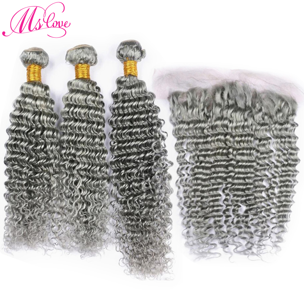 Ms Love Grey Hair Bundles With Lace Frontal Closure 13*4 Inch Remy Brazilian Hair Deep Wave Human Hair Bundles With Frontal