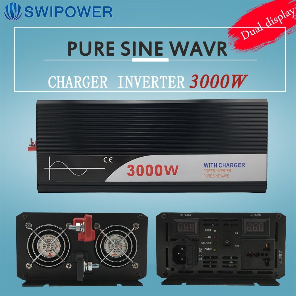 Onduleur 3000 w pur onduleur à onde sinusoïdale avec chargeur 12 v 24 v 48 v DC à AC 220 v 230 v 240 v onduleur solaire