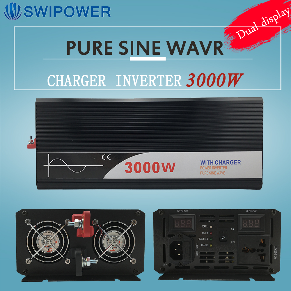 Ups Omvormer 3000W Pure Sinus Omvormer Met Lader 12V 24V 48v DC Naar AC 220V 230V 240v Solar Power Inverter