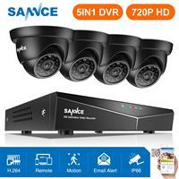 Oferta SANNCE 4CH 1080N DVR 720P sistema de cámara de seguridad CCTV 4 Uds 720P CCTV cámaras P2P Kit de videovigilancia impermeable al aire libre
