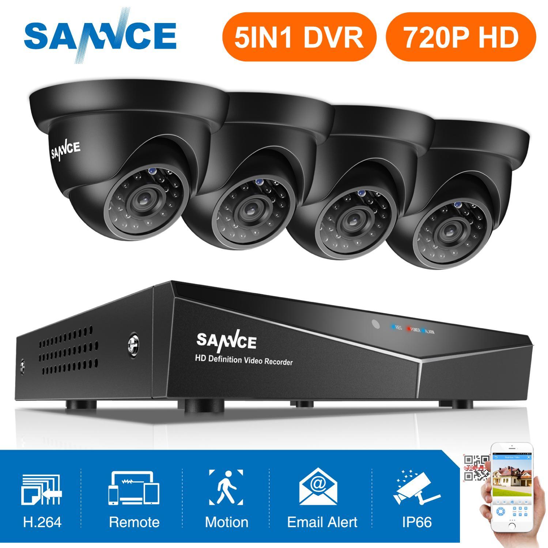 SANNCE 4CH 1080N DVR 720 P câmera de Segurança CCTV sistema de Vídeo P2P 4 pcs 720 P CCTV Câmeras Ao Ar Livre À Prova D' Água kit de vigilância