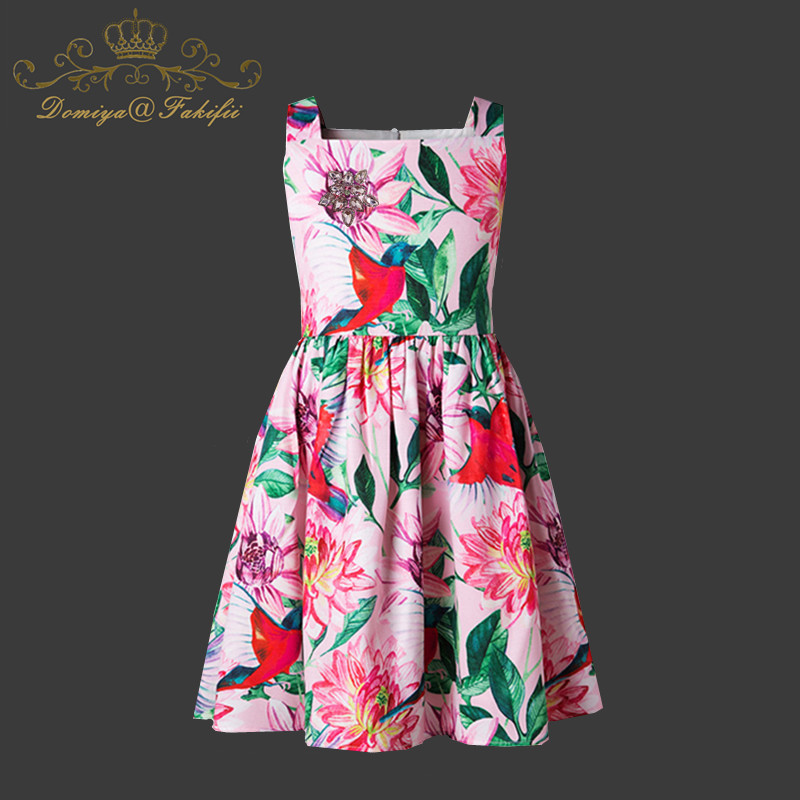 все цены на Girls Graffiti Print Dress 2018 Brand Toddlerl Summer Clothes Kids Costumes Floral Print Robe Princesse Fille Children Dress Kid