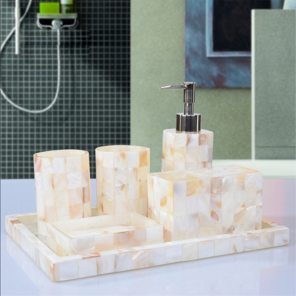 Art decorative pearl shell bathroom accessory set soap for Bathroom accessories sets on sale