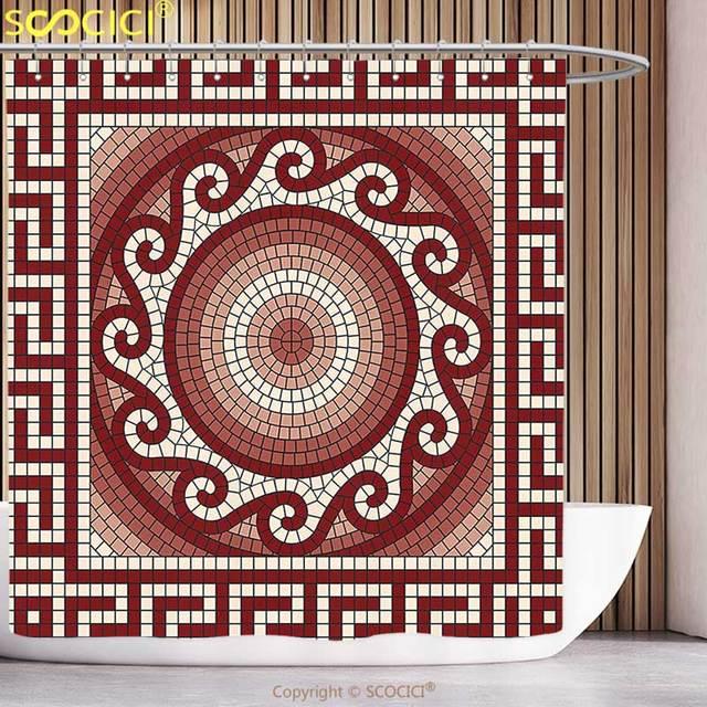 Polyester Rideau De Douche Mosaique Abstraite Avec Classique Grec