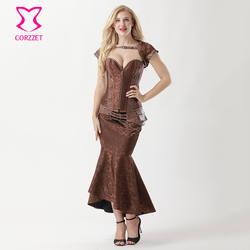Corzzet коричневый Brocade молнии Сталь Boned корсет Overbust платье сексуальное похудения Русалка Винтаж корсет Юбки для женщин