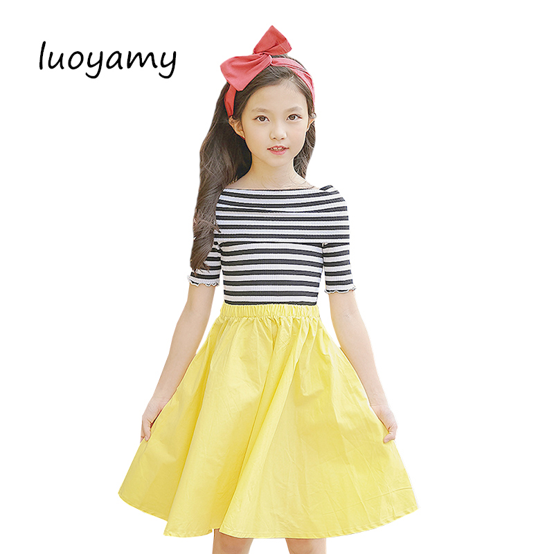 luoyamy 2018 Girls Candy Color A-line Dress Baby Kids Spring Summer Shoulder-less Dress Children Striped Patchwork Dresses luoyamy 2017 summer style girls children striped patchwork dress baby party next clothing kids princess cute dresses