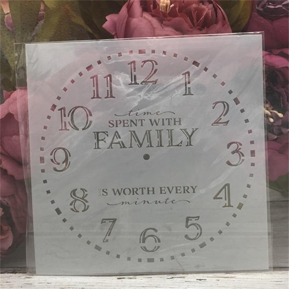 1Pcs 15*15cm Clock Words Dial DIY Layering Stencils Painting Scrapbook Coloring Embossing Album Decorative Card Template