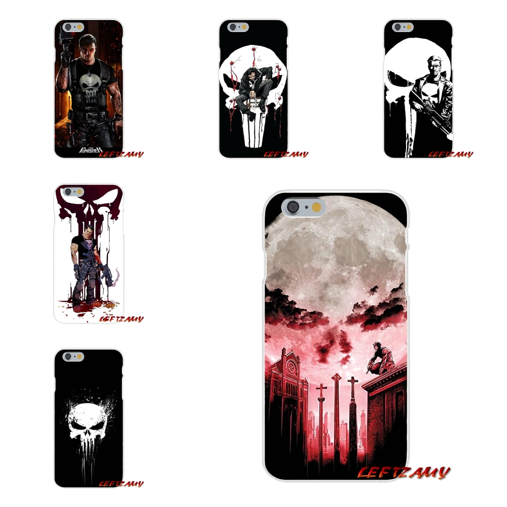 For iPhone X 4 4S 5 5S 5C SE 6 6S 7 8 Plus Accessories Phone Shell Covers Cartoon Marvel Punisher