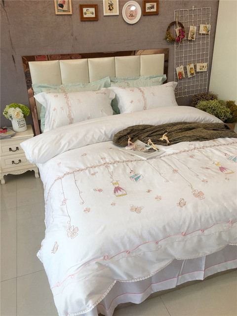 Egypt Cotton White Lace Exqusite Embroidery Bedding Set Queen/King Size  4Pcs Girls Bed Set