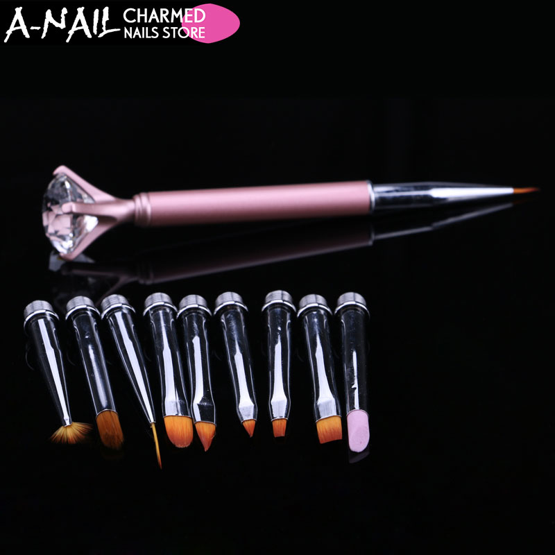 1set Nail Art Pen Brush Metal Crystal Replace 9 Heads Carving Cuticle Remover Flat Line Flower Drawing Painting Manicure Tool