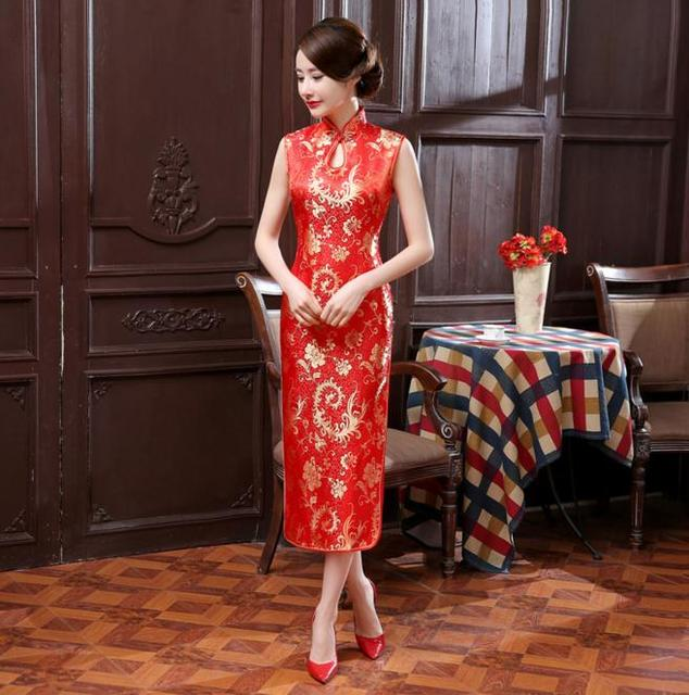 a71d4e86f Summer New Red Chinese Women Long Dress Traditional Satin Cheongsam Qipao  Sexy Dripping Sleeveless Dress S M L