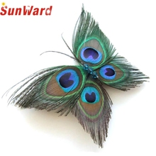 Garment  1Pcs Butterfly Peacock Feather Bridal  Hair Clip womens Pin Head Hairpin for lady  nice gift