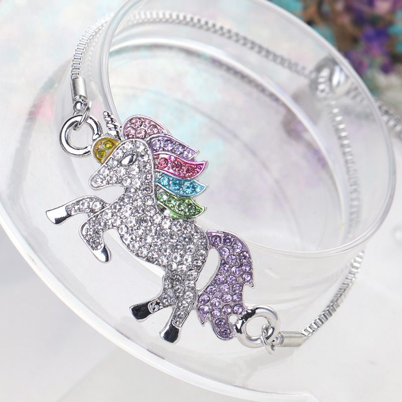 MDNEN Unicorn Horse Silver Color Alloy Pendant Chain Bracelet For Women Girl Boy Friendship Bracelets Gift Bangles Jewelry