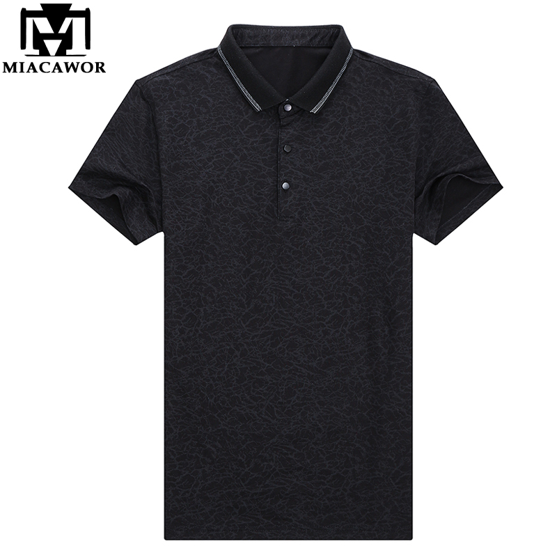 MIACAWOR 2019 New Men   Polo   shirts Fashion Print Camisas Summer Short-sleeve Homme Casual Men Clothing T703