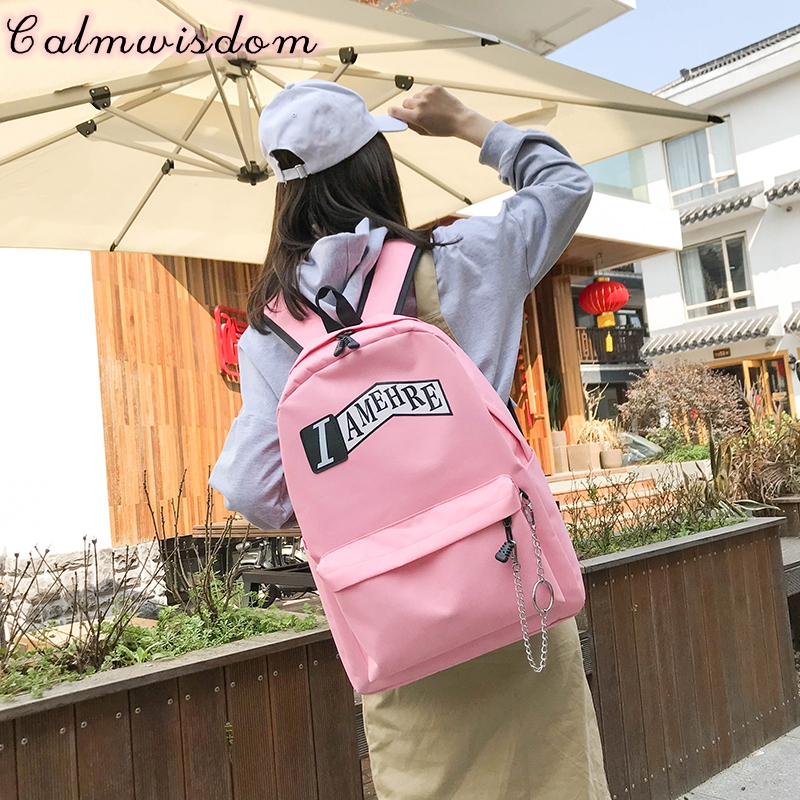 2018 Letter Printing Backpack School Backpack Women Notebook Bag School Book Travel Back Pack Cool Canvas Youth Urban Girls