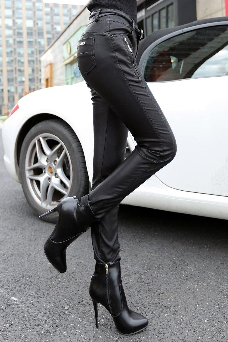 Vruće prodaja moda guše žene Pu koža motocikl hlače visoke - Ženska odjeća - Foto 2