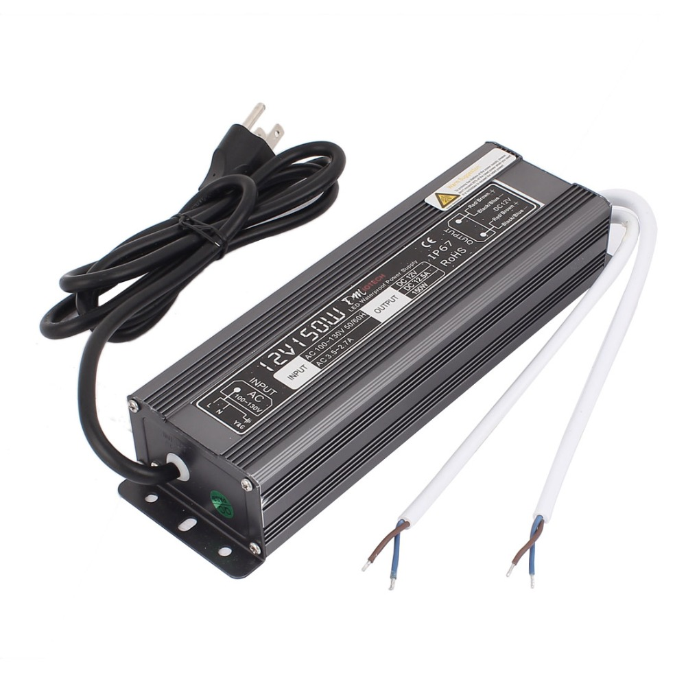 High Quality AC 100-130V DC 12V 150W US Plug Transformer Waterproof IP67 LED Driver Power Supply