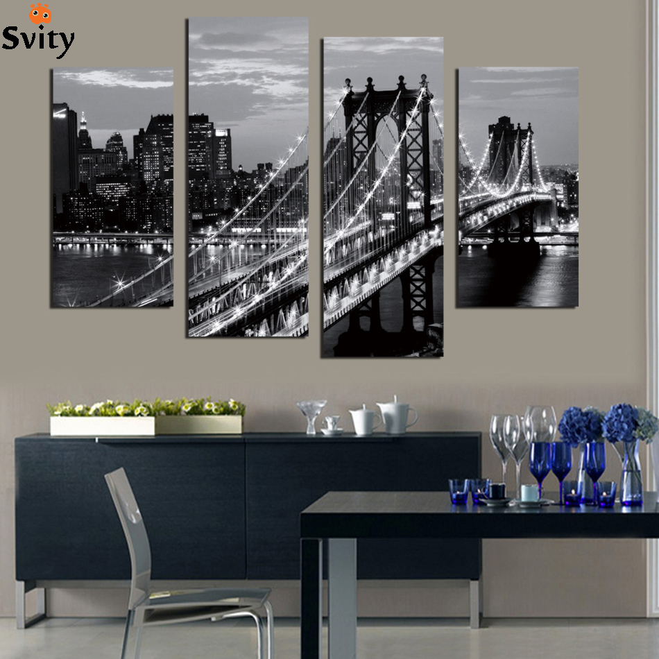 4 pieces Mordern wall picture canvas painting black&white bridge photo print decoration landscape art for living room no frame