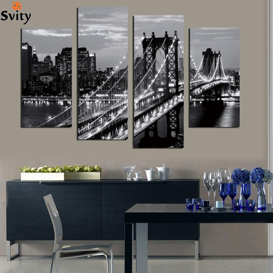 4 kusy Mordern stěna obrázek plátno obraz černobílý most foto dekorace krajina umění pro obývací pokoj bez rámu
