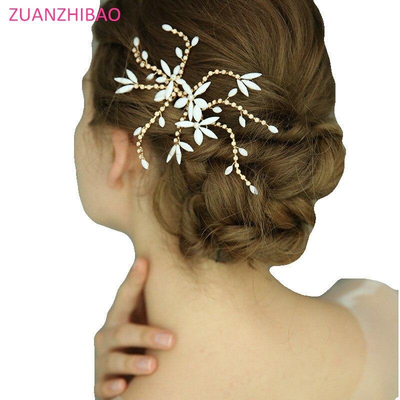 Bride Hair Jewelry Leaves Tiara Hair Combs Flower Hair Pin Bridal Clips