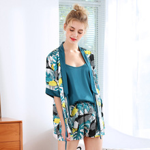Tony&Candice Summer Printing Pattern Women Pajama Set Sexy Lingerie Rayon Sleepwear Long Sleeve Trousers Three  Paper Suit