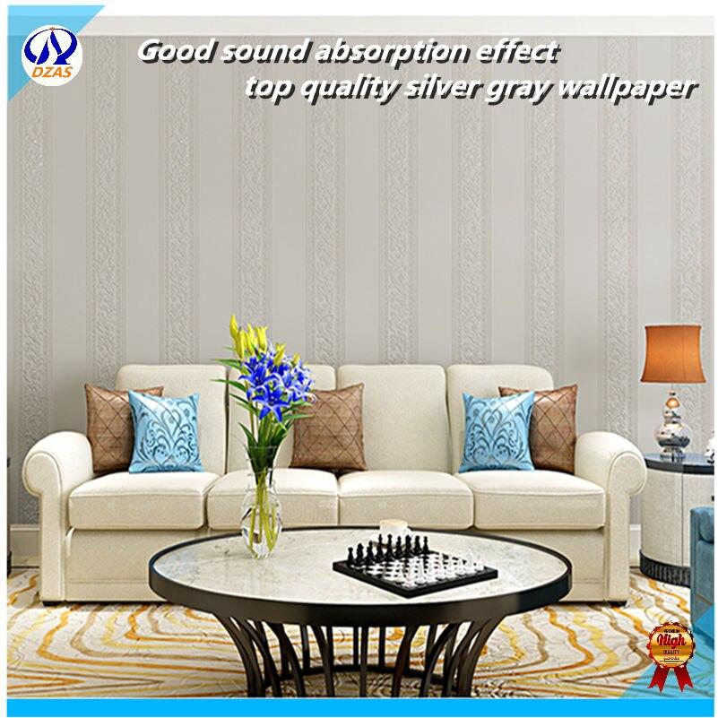 Livraison gratuite ja180 pour salon chambre Style européen papier peint argent gris couleur rayure papier peint mur papier rouleau