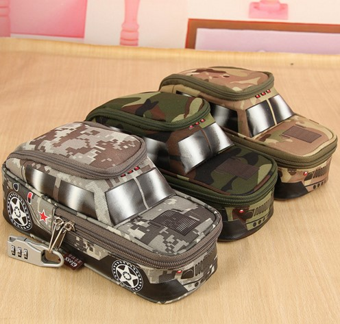 Portable Oxford Camouflage boy Car pouch Style large Pencil Case vehicle Bag Pen Holder School Supply with Combination Lock portable car vehicle storage organizer holder nylon net pouch bag black