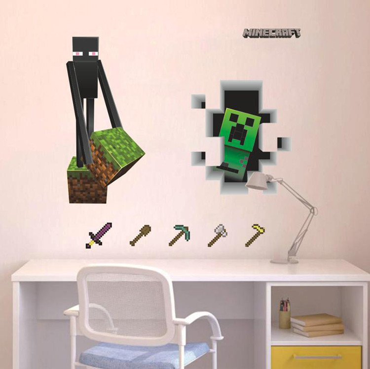 Minecraft game enderman wall sticker for Stickers para dormitorios