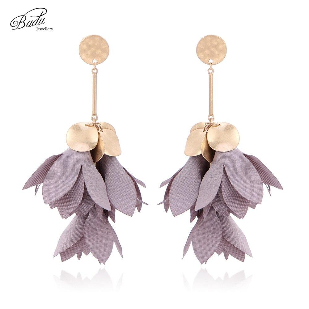 Badu 6 Colors Cloth Flower Shape Earring Golden Alloy Bohemian Floral Pendant Vintage Drop Earrings for Women Christmas Party