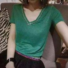 KENVY Брендовые женские модные роскошные с коротким рукавом хлопковые с круглым вырезом Прямые Цветные бриллиантовые футболки топы