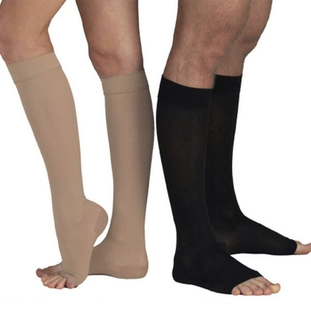 cab48f3ba4 Top Quality Knee High Open Toe Women Men Unisex Compression Socks Leg  Fatigue Relief Sock