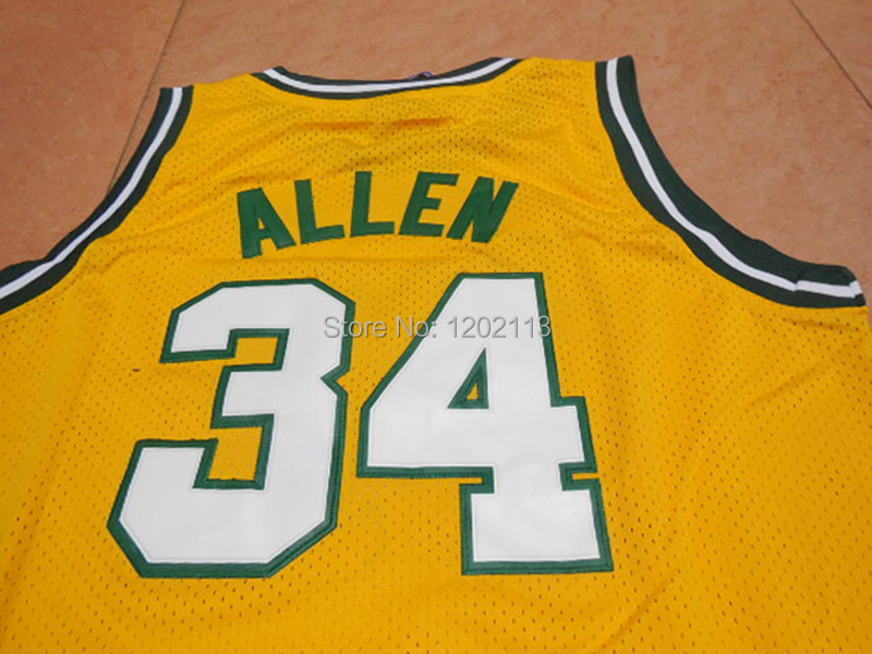 Seattle Supersonics  34 Ray Allen Throwback Jersey Retro Basketball Jerseys  Yellow White High Quality Mesh Embroidered Logos-in Basketball Jerseys from  ... c617bc387