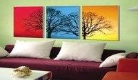 Peint à la main 3 pièce rouge noir bleu jaune moderne abstraite peinture à l'huile sur le mur de toile art image de l'arbre pour le salon