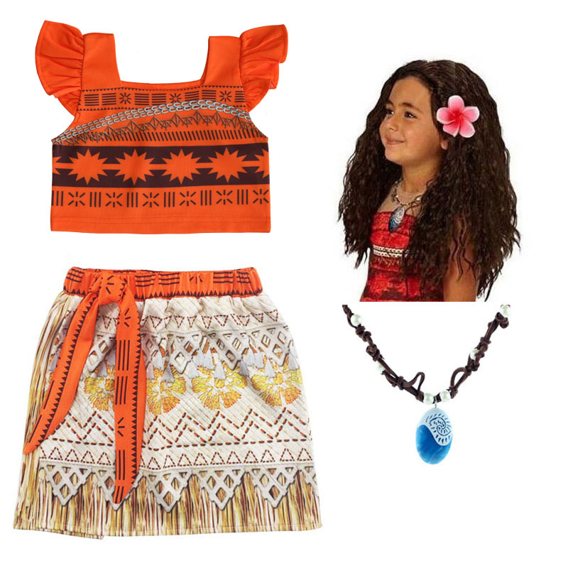 New Baby Girl Princess Party Dress Moana Adventure Clothing for Girls Dress Set with wig and Necklace Vaiana Cosplay Clothes