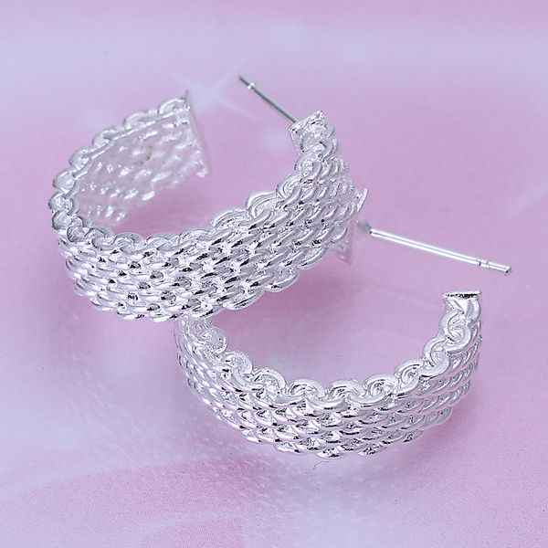 net weaved earrings fashion free shipping jewelry silver plated italina earrings CE193# hoop earrings