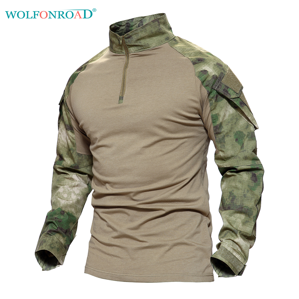 WOLFONROAD Men's Outdoor Hiking Python T-shirts Military Tactical T Shirt Men Camouflage Shirt For Shooting Hunting Plus Size plus size skew collar sequined trim overlay t shirt
