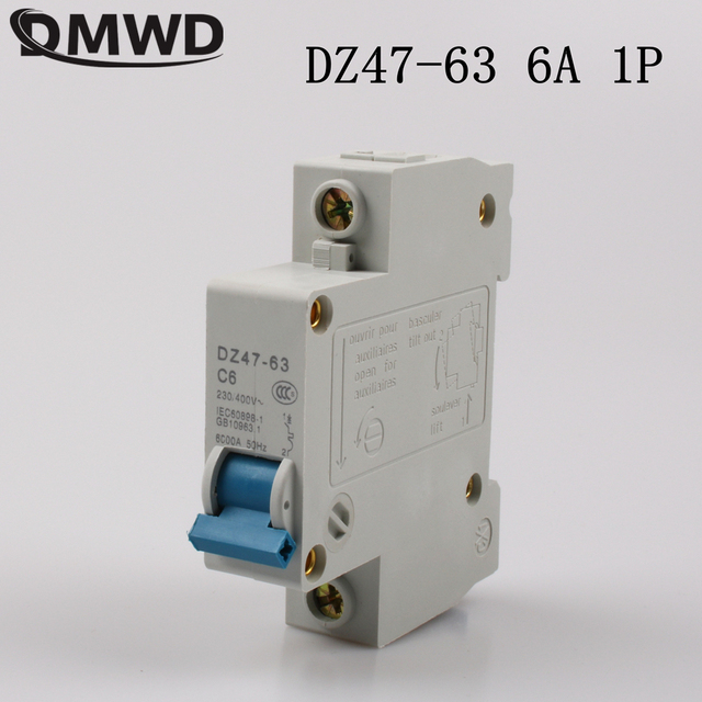 us $0 64 10% off dmwd dz47 63 6a 1p ac 230v or 400v mini circuit breaker mcb cutout switch breaker switch chopper in circuit breakers from homeDz4763 Mini Circuit Breaker Mcb Open Electrical Technology Co #2