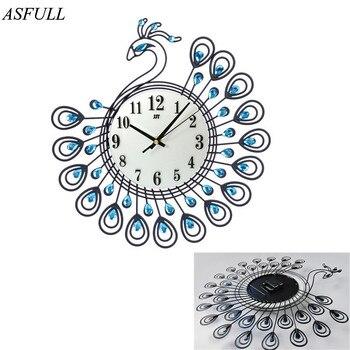ASFULL Diamond Peacock Large Wall Clocks Metal Living room Creative Fashion Silent Wall Watch Home Decor clock wall free shippi