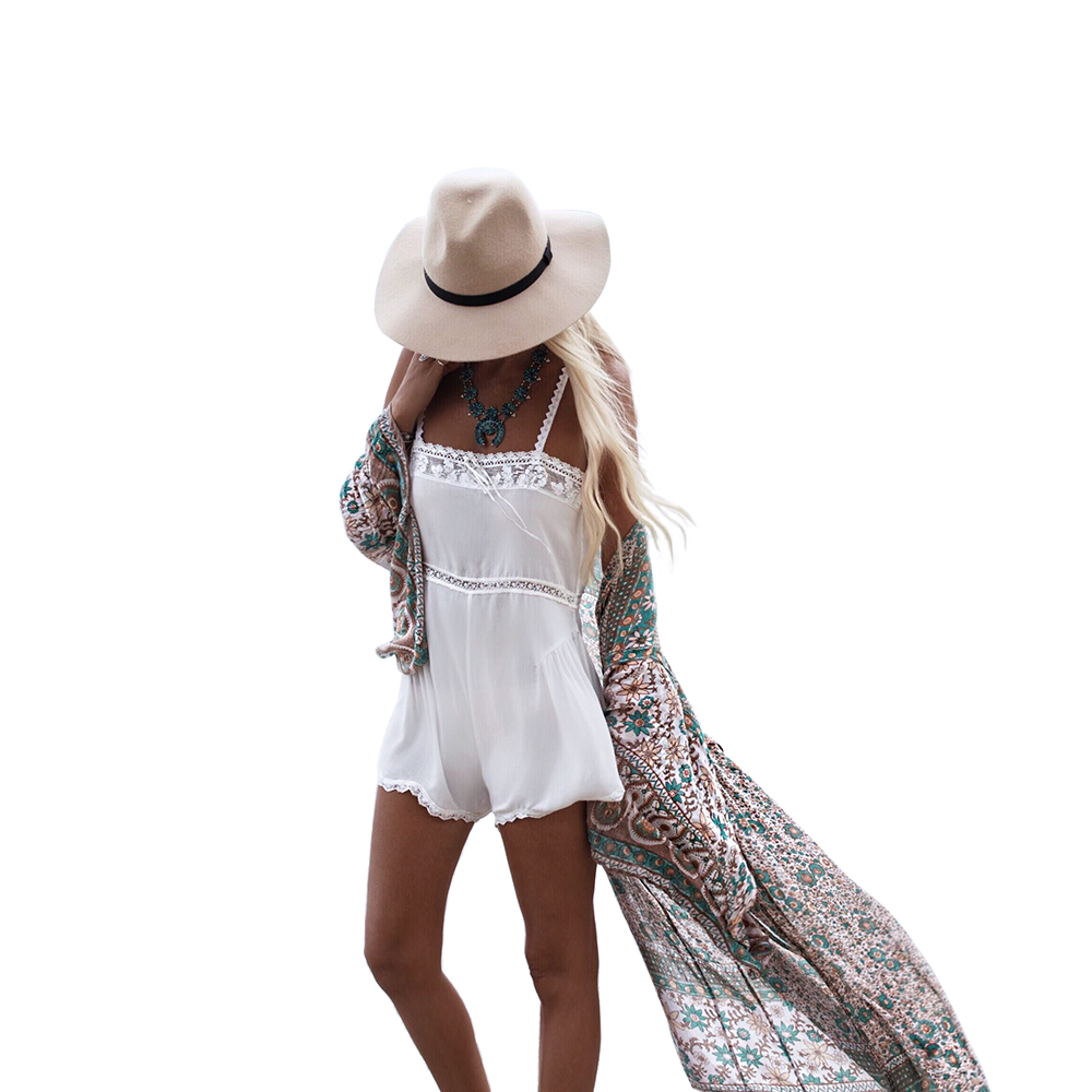 Women Summer Style Chiffon Three Quarter Sleeve Floral Printed kimono Beach Long Sexy Cardigan Cover Up Casual Blusas Tops