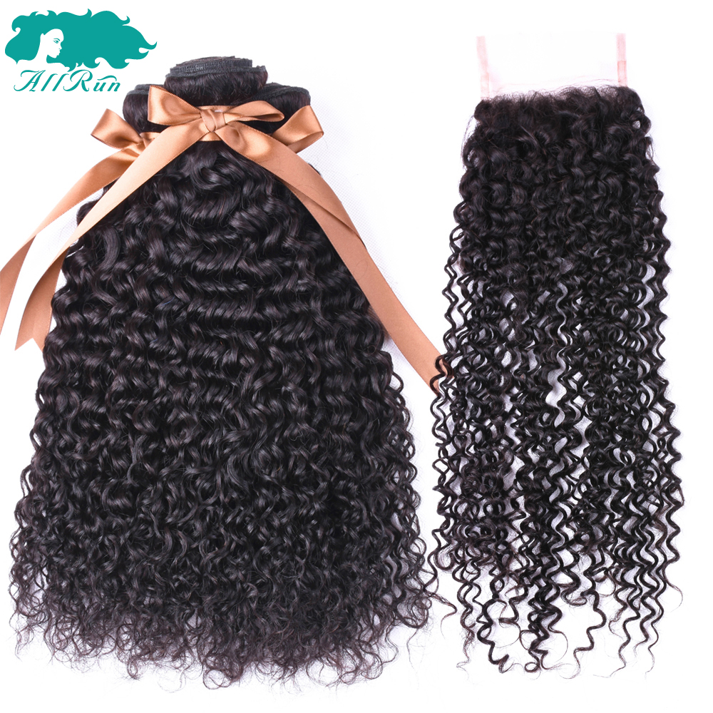ALLRUN Kinky Curly Weave Human Hair Bundles with Lace Closure Non-Remy Indian Hair Weave 3 Bundles with Closure ...