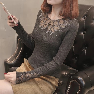 New  Fashion 2019 Spring And Summer New Style Women Elastic Body Cultivation Lace Sweaters