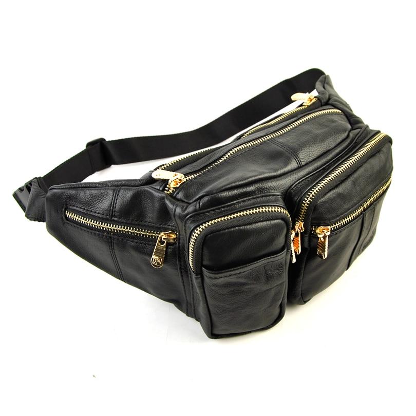 Men Women Genuine Leather Large Fanny Designer Waist Pack Bum Belt Casual Pouch Cellphone Bag Multi