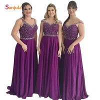 24a03b0ae0 Sparkle Sequins Beaded Bridesmaids Dresses Illusion Neck Cap Sleeve A Line  Party Gowns Long Purple Chiffon
